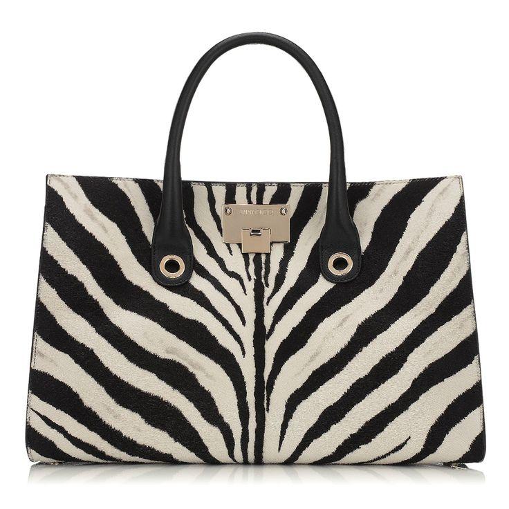 Jimmy Choo Riley - Black and White Zebra Print Pony Tote Bag
