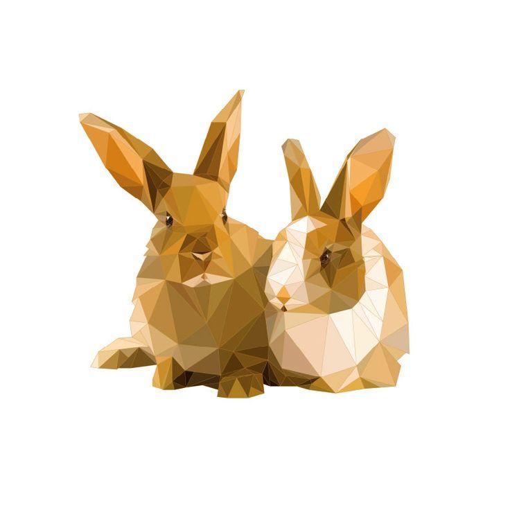 Bunny Print Rabbit Art Geometric Print Polygon by SunberryGraphics