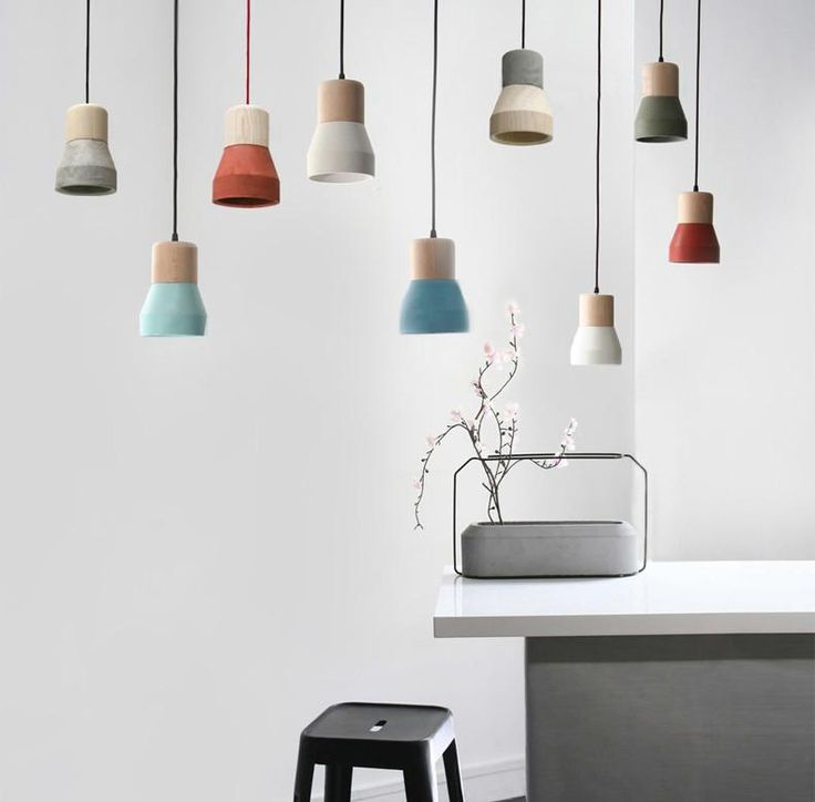 Toro concrete wooden minimalist pendant light ceiling light clean concrete