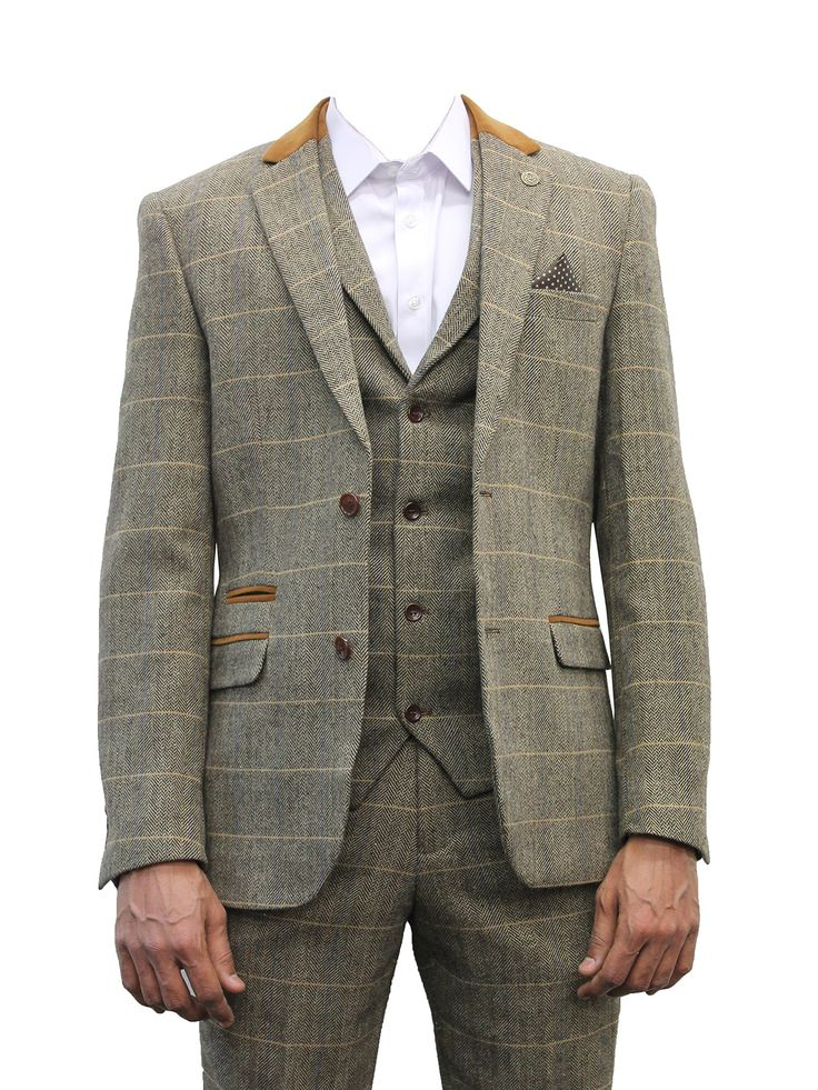 "Mens Marc Darcy Designer Brown Tweed Herringbone Checkered Vintage 3 Piece Suit (34"" JKT 30"" WAIST 31"" LEG, Tan)"