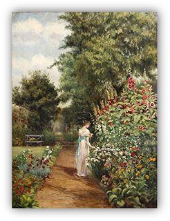 Pintura al óleo de una mujer victoriana en el jardín.  Parte del blog Oración de la Mujer Victoriosa.