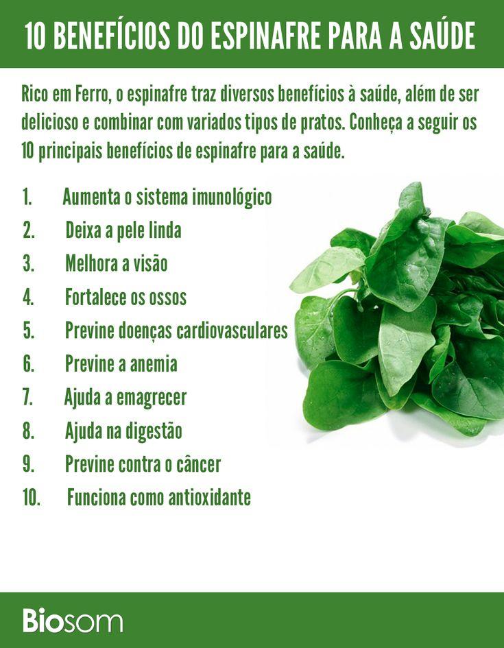 Clique na imagem e conheça os detalhes dos 10 benefícios de espinafre para a saúde #espinafre #bemestar #saúde #alimento #alimentaçãosaudável
