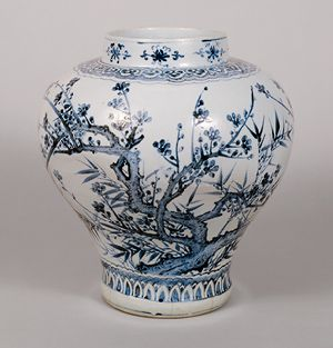 Jar, Joseon dynasty (1392–1910), second half of 15th century Korea Porcelain with underglaze cobalt-blue decoration of plum and bamboo. Gift of the Sumitomo Group courtesy The Museum of Oriental Ceramics, Osaka