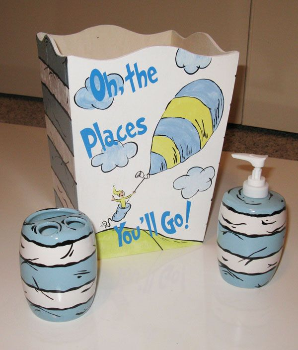 Seuss Baby Blue Oh The Places Youu0027ll Go Bathroom Accessories Set By  FunkyLetterBoutique