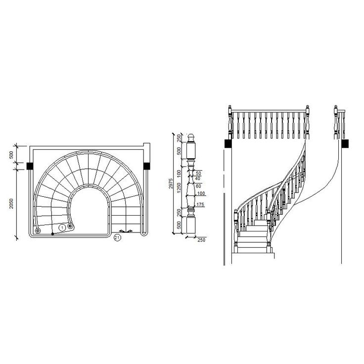 Download free 2d cad interior design Spiral stair cad