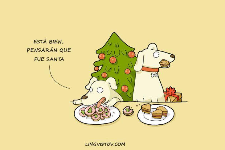 perros comiendo la comida de santaclos