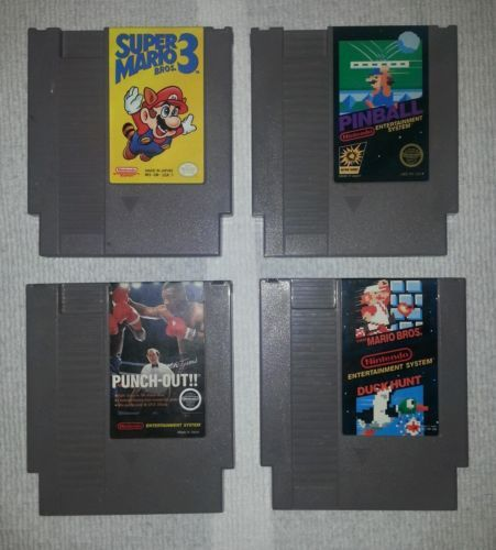 Mike Tyson's Punchout, Super Mario / Duck Hunt, Super Mario 3, Pinball NES