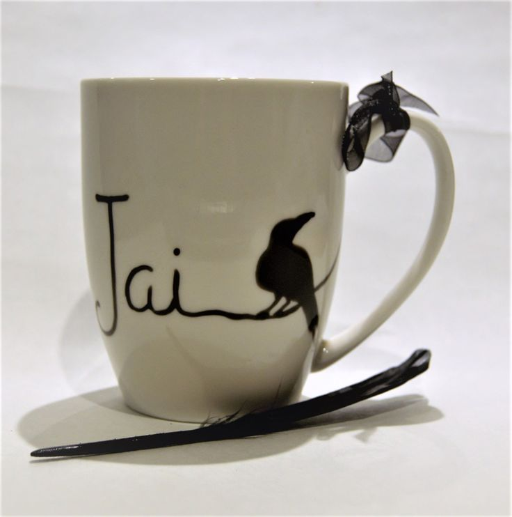 Raven name mug Xmas mug birthday gift Jai personalised with name or initial xmas gift for him xmas gift for her by TattooTeaLady on Etsy