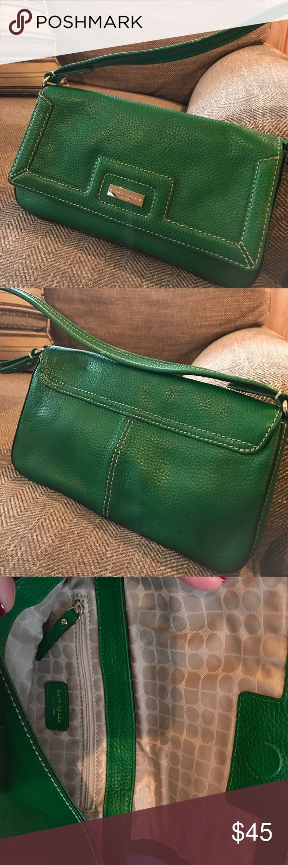 Kate Spade Kelly green leather shoulder bag Kate Spade Kelly green shoulder bag. 10.5 inches wide, 5.5 inches deep. In practically new condition! kate spade Bags Shoulder Bags