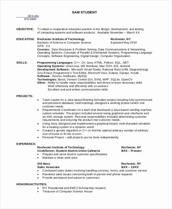 25 Computer Science Resume Example In 2020 Student Resume Science Student Computer Science