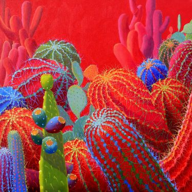 Contemporary Cacti| Oil Painting Cactus Painting | Sharon Weiser |
