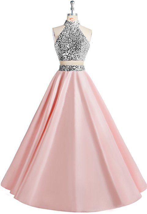 aee6efeed099 MsJune Women Two Piece Prom Dress Beaded Long Party Gowns Evening Dresses  Pink 2 at Amazon Women's Clothing store: