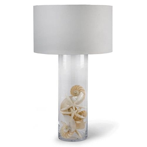 """Add a modern, contemporary coastal style to your home with this extra- large 35"""" inch tall Glass Cylinder Display Lamp with a removable shade to make filling the round 8.5"""" glass cylinder base with your beach treasures a breeze!"""