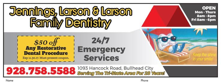 Tooth emergency? Call Jennings and Larson Family Dentistry today! Get $50 off dental procedure w/Adspay coupon.  #adspay #dental #orthohealth #restorative #cleanings #xray #implants #healthysmiles #bhc
