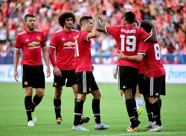 Marcus Rashford #19 of Manchester United celebrates his second goal of the first half with Juan Mata #8 and Ander Herrera #21 to take a 2-0 lead over the Los Angeles Galaxy at StubHub Center on July 15, 2017 in Carson, California.