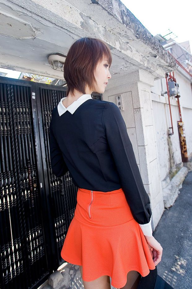 white coloration collar point blouse