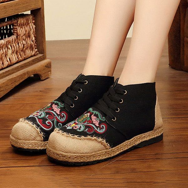 Hot-sale Embroidered Lace Up Flax Flat Shoes - NewChic