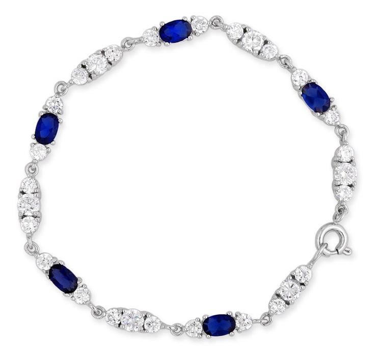 JDGEMSTONE Love Heart Ocean Blue Crystal Tennis Bracelet for Women Sapphire&Clear Birthstone Bangle 2vtAcXInau
