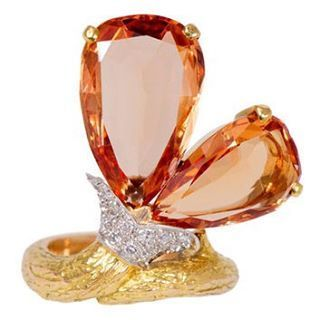 The Practical Gemologist — Verdura imperial topaz and diamond ring.