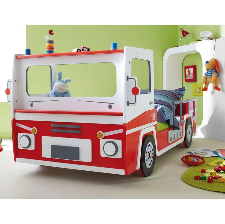Lit enfant pompier Longueur 190/200 x Largeur 90cm Rouge / Blanc Bogota 90x200 3224_ - 3224_