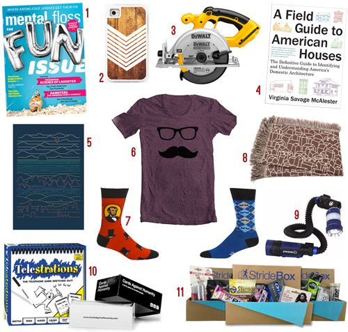Holiday Gifts For Guys, Gals, & Kids: 2013 Edition | Young House Love. I love the ideas for guys: Mental Floss magazine subscription and a monthly bike enthusiast delivery...