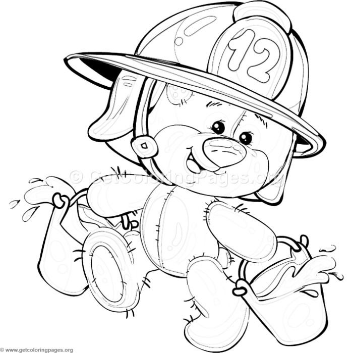 Free Download 2 Teddy Bear Firefighter Coloring Pages Coloring