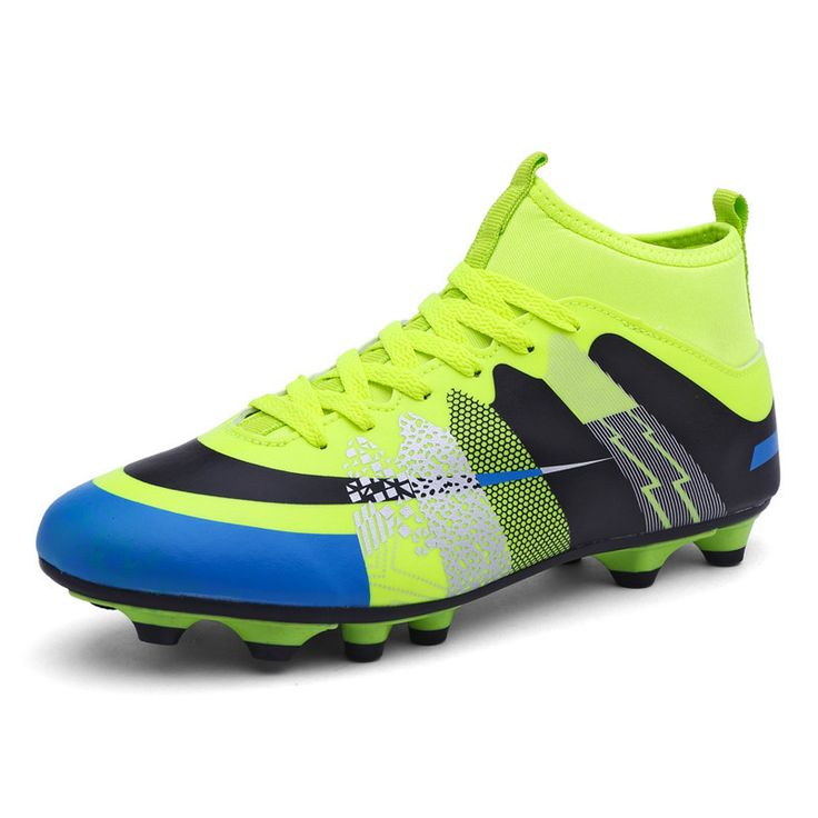 KERZER 2017 New Arrival Athletic Spikes Soccer Shoes High Top Mens Cleats for Football Green/Blue Outdoor Soccer Boots Trainers
