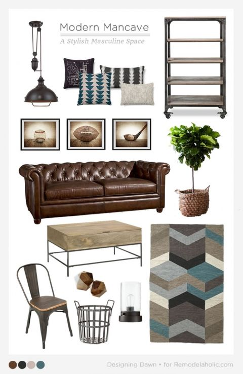 Creating a modern man cave. Love this rustic industrial masculine space!