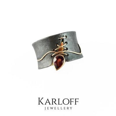 GOLD & SILVER RING With GARNET - product image
