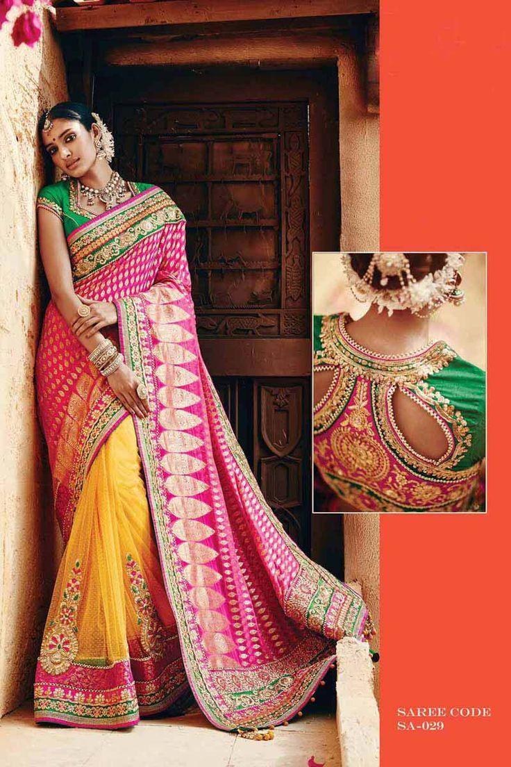 Pink Viscose Bridal Saree