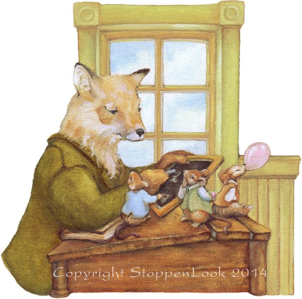 "Poor Mr. Fox has his hands full with two little fellows who are more interested in making the biggest bubble than learning their alphabet! Size: 6.65""x6.65"" on 8""x8"" Archival watercolour paper. Titled, signed and dated by Wilna Clark-Gerami. Peekabout™ No: 2-3"