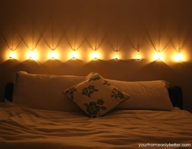 LOTS Of GREAT Ideas Here! Cool 48 Romantic Bedroom Lighting Ideas :  Romantic Bedroom Lighting With White Brown Wall Bed Pillow Blanket And  Small Lamp Above ...