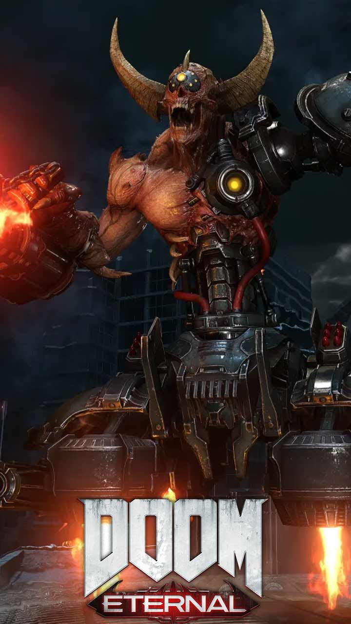 Doom Eternal Wallpaper Hd Phone Backgrounds Game Logo Art Monsters On Iphone Android Lock Screen Doom Demons Doom Videogame Doom