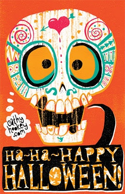 Happy Halloween & Day of the Dead illustration on cathyhookey.com