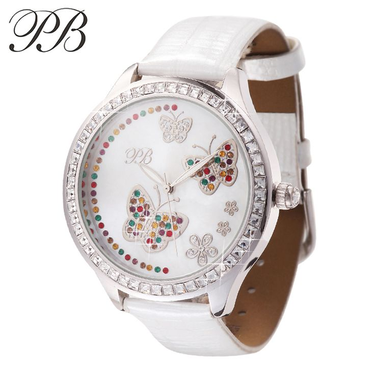 Find More Fashion Watches Information about PB Brand Elegant White Swarovski Crystal Ladies Genuine Leather Dress Watch Luxury Women Quartz Wrist Watches relogio feminino,High Quality crystal facet,China crystal first Suppliers, Cheap watch pu from YIKOO fashion watches on Aliexpress.com