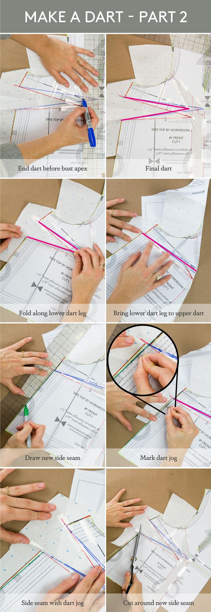 TUTORIAL: HOW TO MAKE A FULL BUST ADJUSTMENT ON A BODICE WITHOUT UNDERARM OR SIDE SEAM DARTSTUTORIAL: HOW TO MAKE A FULL BUST ADJUSTMENT ON A BODICE WITHOUT UNDERARM OR SIDE SEAM DARTS • Workroom Social - Sewing studio in Brooklyn, NY