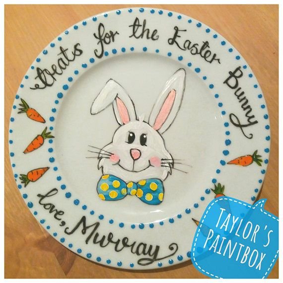 Easter Bunny Personalised Plate Hand-Painted Easter Gift