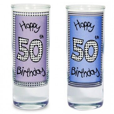 50th birthday present idea of personalised shot glasses
