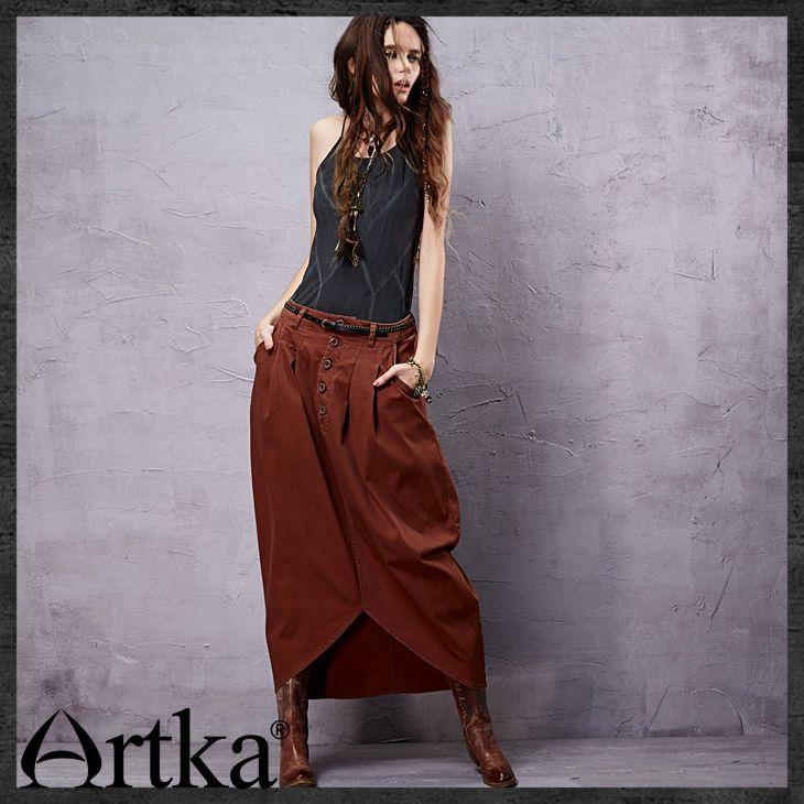 Юбки : Оригинальная юбка в стиле бохо с асимметричным низом, украшенная пуговицами