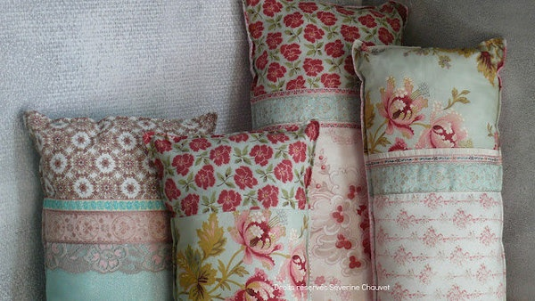 Pillows from beautiful French vintage fabrics and ribbons....I have blouses that have pin tucked fronts that could be made into pillow parts.