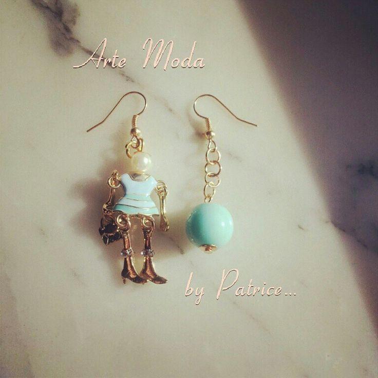 Collezione Patrice creation:modello Marionette. ..color Tiffany. ..#earrings#bijoux#accessori#bijouxfattiamano#madeinitaly#fashion#modaitaliana#depop#instagram#summer#tiffany..x info:patriceartemoda@gmail.com