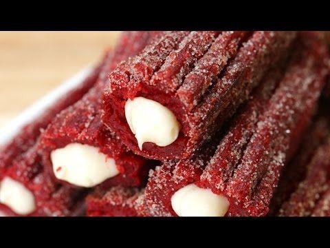 Les churros red velvet fourrés - La Recette