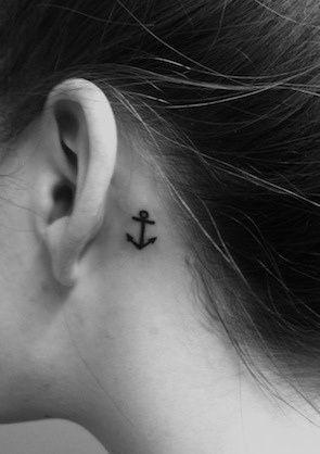 Anchor tattoo behind ear, Love it <3