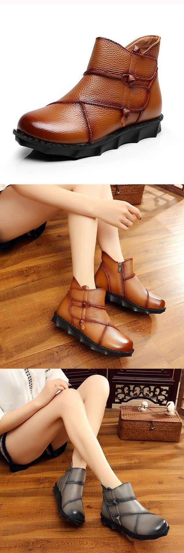 Genuine leather women comfortable sofe sole zipper ankle short boots boots uk #boots #etc #boots #vs #sneakers #g.bootsma #hindeloopen #r #bootstrap #example