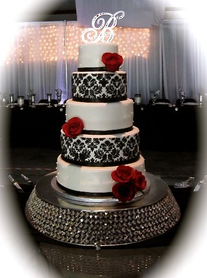 Black red and white damask wedding cake be The Twisted Sifter Cake Shoppe.