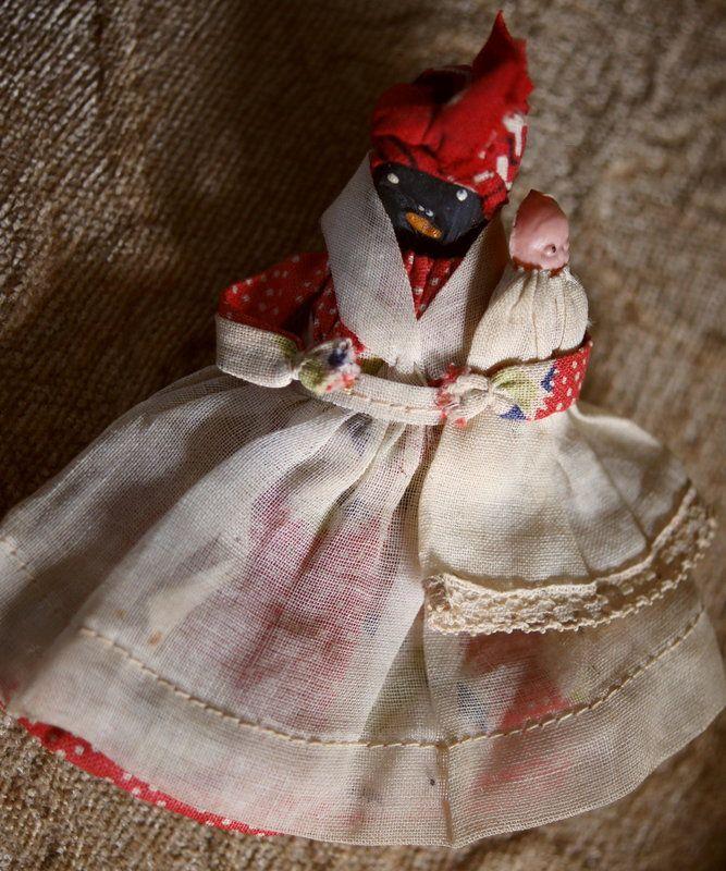1920s Black Americana Mammy Nipple Doll W White Baby