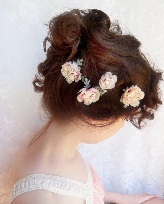 ivory flower hair pins pink bridal hairpiece cream wedding
