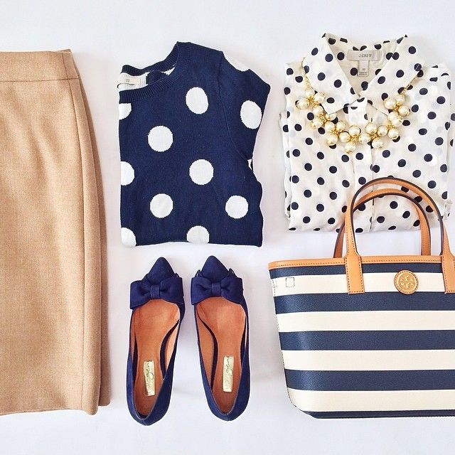 Nude pencil skirt, collared small polka dotted blouse, large polka dotted sweater, flats & matching tote.