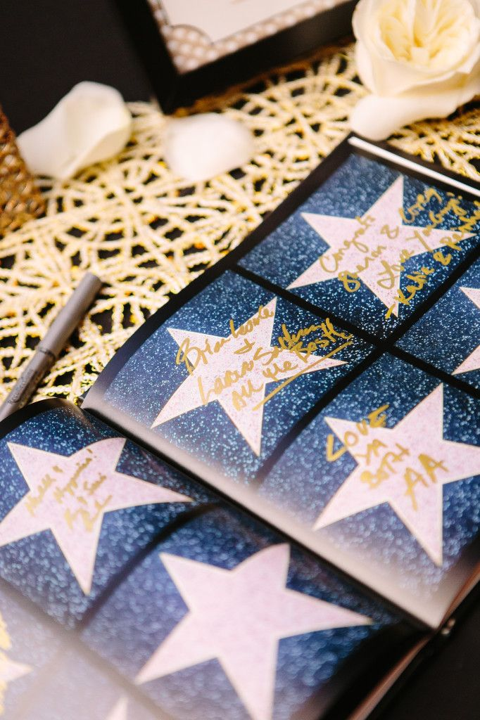 Guest book vintage Hollywood theme - have your guests sign a star (with a gold pen)