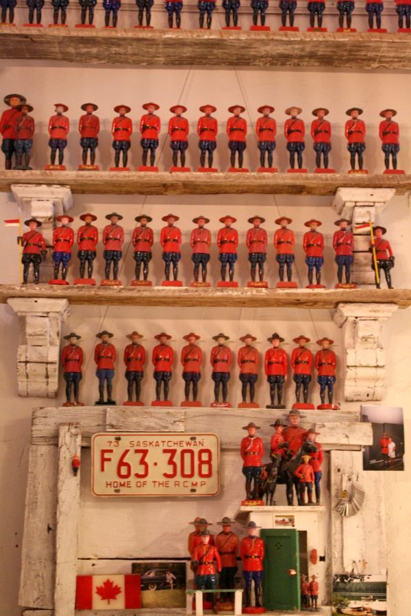 Collection of vintage Canadian Mounties displayed at Zonal (a furniture/antique/americana store) located on Hayes in San Francisco
